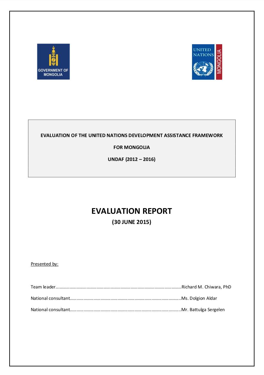 UNDAF Independent Evaluation 2012-2016