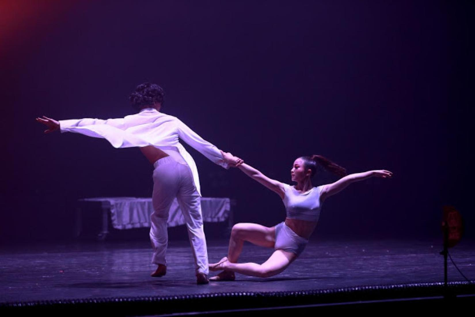 Two dancers perform a pas de deux during Life Element – O2, a modern ballet production staged in Ulaanbaatar, Mongolia, to call for action against air pollution.