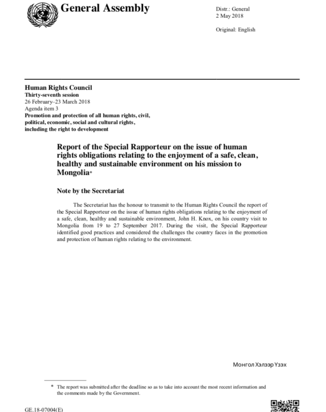 Report of the Special Rapporteur Mongolia