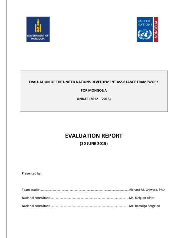 UNDAF Independent Evaluation 2012-2016